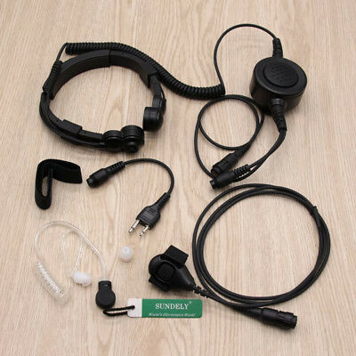 Military Throat Mic Headset/Earpiece GME Handheld CB UHF Radio TX6100 TX680