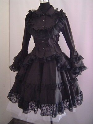 Gothic Lolita vintage punk black long dress with lace  halloween cosplay H1