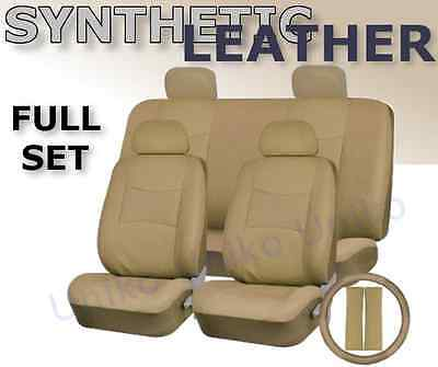 SOLID TAN PU Low Back Synthetic Leather Seat Covers Steering Wheel Set Beige CS1