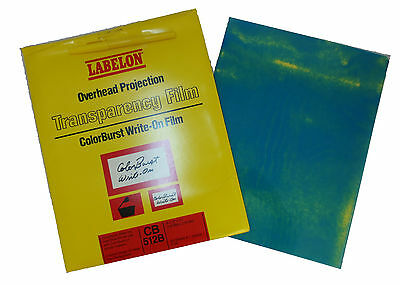 Labelon Overhead Projection Transparency Film ColorBurst Write-On CB 512B Blue