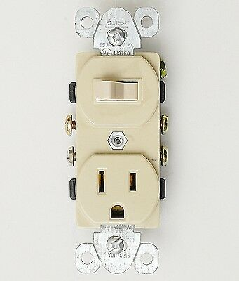 Single Pole 15 Amp Outlet & Toggle Ivory Light Switch & Receptacle Combo