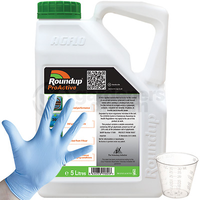1 X 5L Roundup Proactive 360 Strong Glyphosate Weedkiller + Free Cup & Gloves