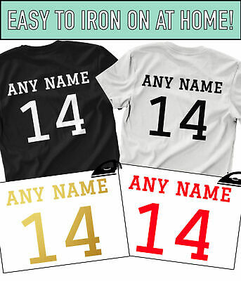 Custom Name & Number Iron On T Shirt Transfer Team Football Sports Style Vinyl