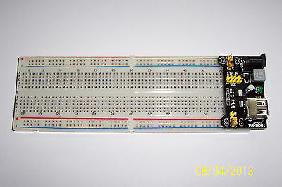 Breadboard , 830 Tiepoints , With Power Supply Brd 3.3 Vdc/5Vdc Regulated Supply