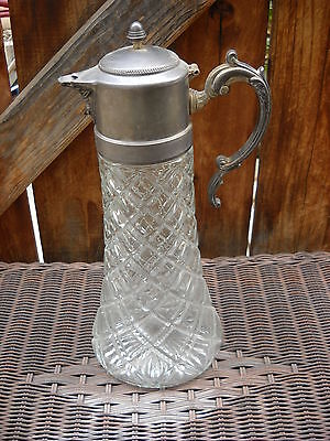 "Vintage Cut Glass and Ornate Silverplate 14"" Tall Pitcher Decanter"
