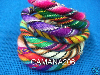 6 Manta Inca Friendship Bracelets Woven Wool Textile **handmade In Cusco**