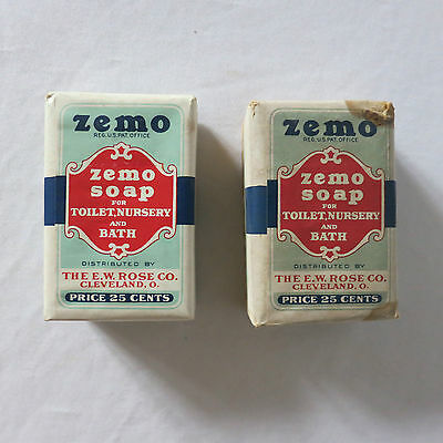 2 Bars of Vintage ZEMO SOAP Distributed by THE E.W. ROSE CO. Cleveland Ohio