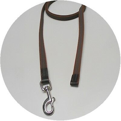 Audenham English Bridle Leather Rubberised Cotton Tracking Lead Brown