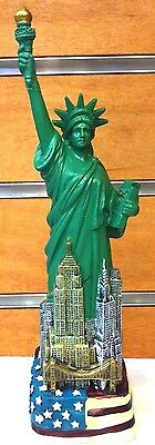 6 inch Statue of Liberty Replica Figurine with American Flag & NYC Skyline
