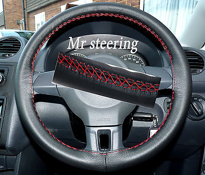 Fits Vw Golf Mk6 Italian Black Leather Steering Wheel Cover Red Stitch 2008-2012