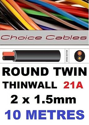 ROUND TWIN AUTO CABLE 2 CORE 1.5mm 21 AMP CAR, BOAT LOOM WIRE, MARINE CABLE 10m
