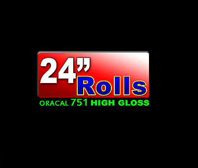 "24""x30ft Roll Oracal 751 CAST High Gloss BLACK adhesive backed VINYL, 10yd"