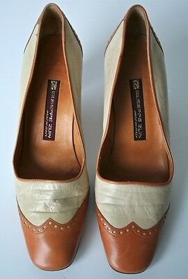 UK 4 / 4.5 - 1980s Cream correspondent leather shoes -Guiseppe Zuin - 37 / 37.5