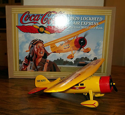 Ertl 1994 Metal Diecast Coca Cola Plane Bank - 1929 Lockhead Air Express