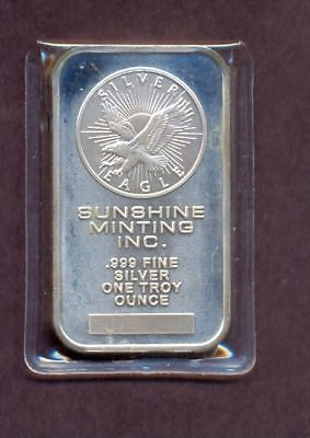 1985 Sunshine Mining  Minting Commercial  1oz Silver Art Bar SUN27  A112