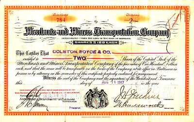 Merchants and Miners Transportation Company MD 1917 Stock Certificate