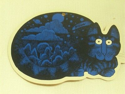 Vintage Kliban Cat Blue Earth Space Christmas Ornament Gift Tag Die Cut Decor