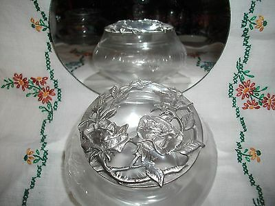 Rawcliffe Pewter Rose Garden Lid~Potpourri Jar/Covered Dish~Signed & Dated 1990