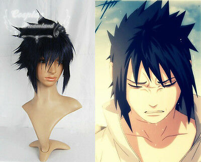new neu Naruto Uchiha Sasuke Cosplay Perücke wig costum long lange version black