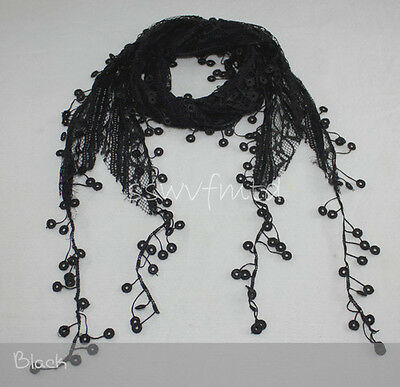 """68"""" Lace Scarf Long Coins Fringe Embroidery Floral Black White Ivory Steel Blue"""