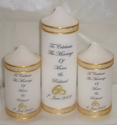 3 Pce Personalised Christening/Wedding Unity Candle Set