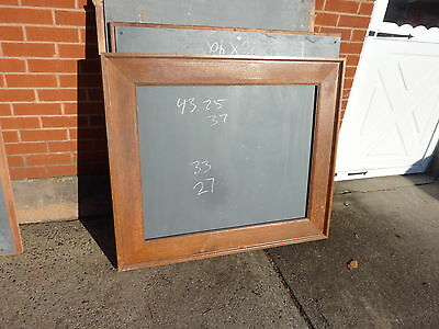 early 20th century schoolhouse SLATE chalkboard FRAMED OAK molding 43.25 x 27""