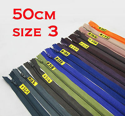 """- New - Nylon Dress Zip/Zipper (20"""") 50cm Assorted Colours Closed End Sewing"""