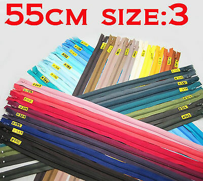 """- New - Nylon Dress Zip/Zipper (22"""") 55cm Assorted Colours Closed End Sewing"""