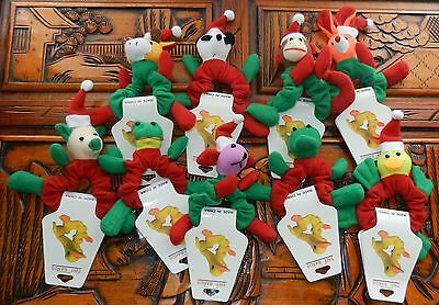 9 Frog Reindeer Bear Duck Cow Monkey Pig Santa Hat WRIST HAIR BANDS Christmas