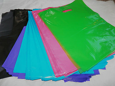 100 12x15 Hot Pink, Black, Teal Blue, Purple, Lime Plastic Bags Handle Gift Bags
