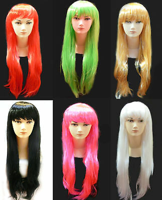 Long Bob Party Wig Costume Red Green Golden White ....