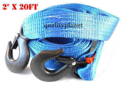 2 Inch x 20 Ft. Polyester Tow Strap Rope 2 Hooks 12,000lb