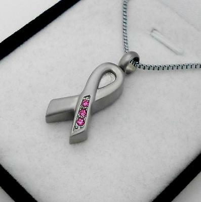 316L S/Steel  Remembrance Ribbon Memorial Keepsake Cremation Pendant Jewellery