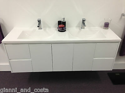 BATHROOM VANITY UNIT - 1500mm POLYURETHANE WALL HUNG WITH POLY MARBLE BASIN
