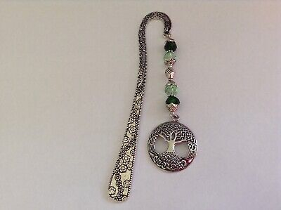 Silver Tone Flower Ornate Pewter Tree Of Life Charm Green Glass Beads Bookmark