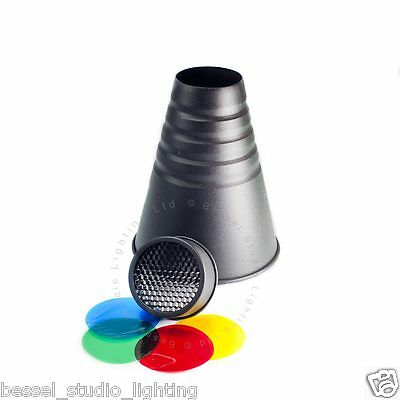 Bessel Elinchrom Fit Professional Conical Snoot with grid and coloured filters