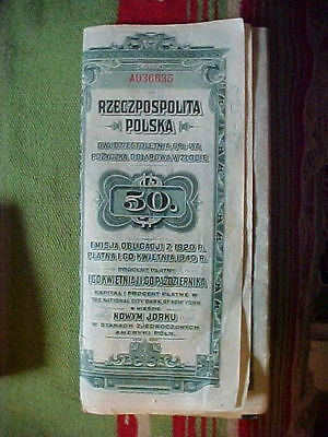 Republic Of Poland Canceled Bond Certificate 1920