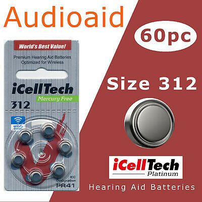 60pc Size 312 Hearing Aid Batteries Expiry 2023 1.45V - ICELLTECH