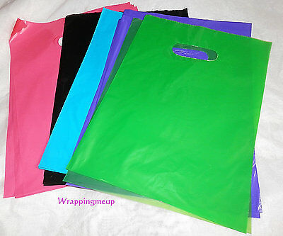 100 9x12 Multi Color Assoerted Plastic Merchandise Bags Party Favor Gift Bags