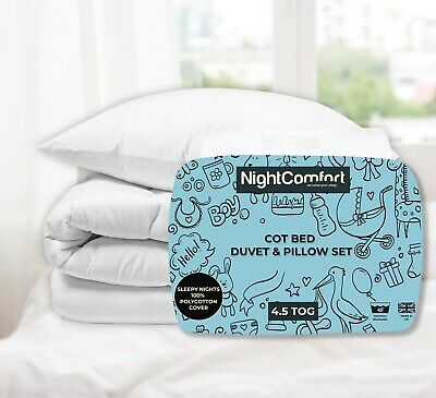 Anti Allergy Cot Bed Duvet and Pillow Luxury Polycotton 4.5 Tog