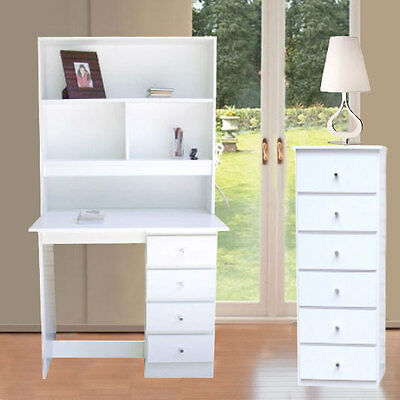 bedroom  New Desk and Hutch 4 Drawer + Slimboy/Chest of drawers Storage In White
