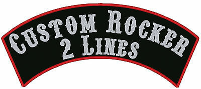 1 Custom Embroidered Top Rocker Patches Biker Sew on 12""