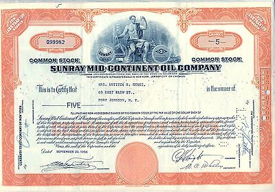 Sunray Mid-Continent Oil Company Stock Certificate Gas