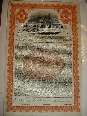 Dortmund Municipal Utilities Bond Stock Certificate Germany