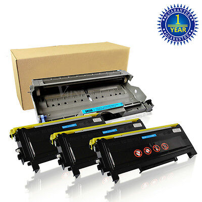 3x TN350 Toner 1x DR350 Drum For Brother HL-2040 2070N MFC-7420 7220 7820N 2820