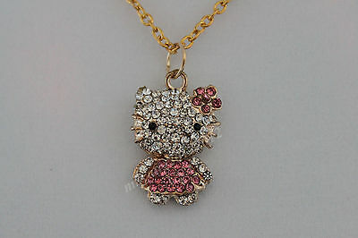 3D Fashion Gold Pink Hello Kitty Rhinestone Necklace (Girl's Best Gift)