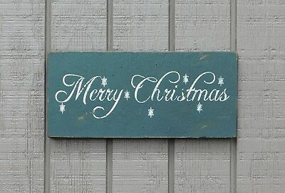 MERRY CHRISTMAS WITH SNOWFLAKES SEVERAL COLORS AVAILABLE PRIMITIVE SIGN