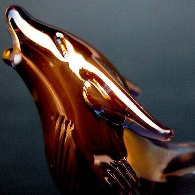 Wolf Figurine Sculpture of Hand Blown Glass Collectible