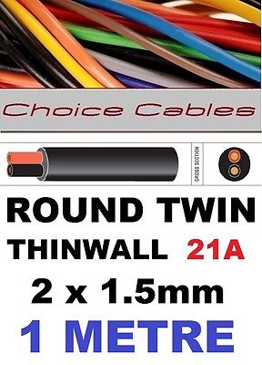 ROUND TWIN AUTO CABLE 2 CORE 1.5mm 21 AMP CAR, BOAT LOOM WIRE, MARINE CABLE 1m