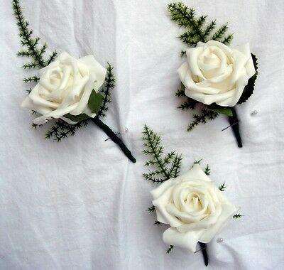 Ivory Rose Buttonholes X 3